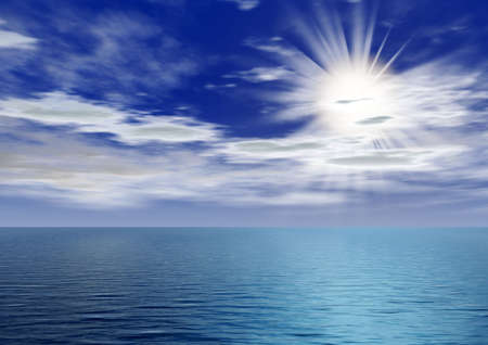 bask: Dawn above ocean. Quiet ocean with the picturesque sky the sun