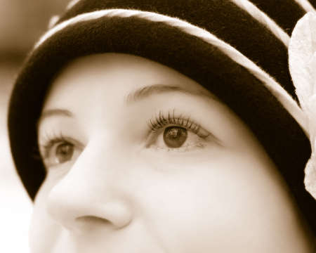 Eyes of the woman. Effect of the bicoloured image with application of the softening filter Stock fotó