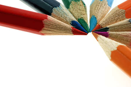 set color pencils. It is isolated on a white background photo