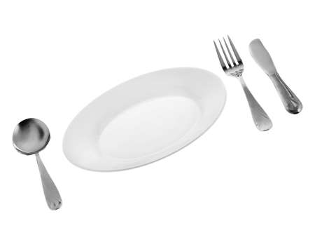 separately: Set of kitchen object. The spoon, a plug, a knife, a plate. Separately on a white background.