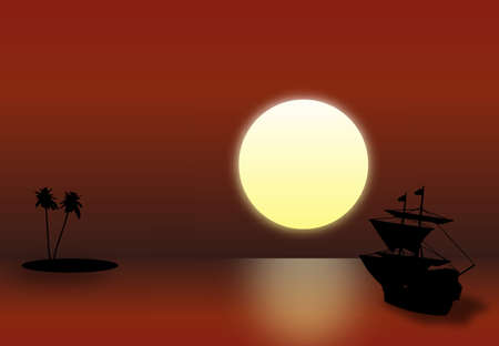 boat and sunset. Red night Vector