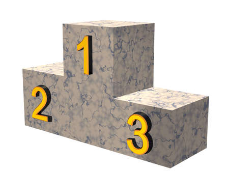 Pedestal from a marble. Gold figures corresponding the borrowed places in competition photo