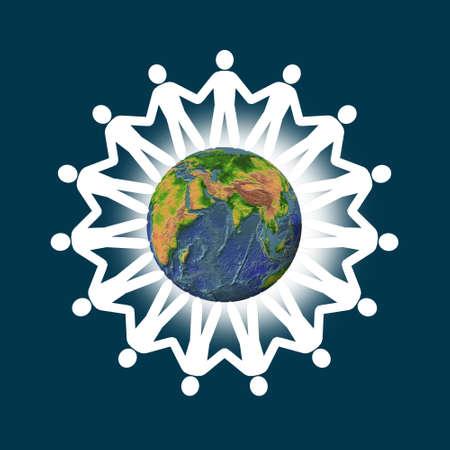 derechos humanos: paz. La forma de personas de un origen �tnico diferente con un planeta sobre un fondo
