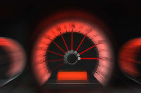 rev: Concept speed. The panel of the car of 200 kmh going on the speed Stock Photo