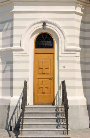 Door in Christian church. The Crimean peninsula Stock Photo - 3187940