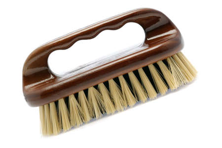 bristle: Brush for cleaning. The wooden handle, a natural bristle