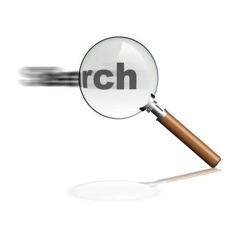 Magnifier. The isolated magnifier on a white background with the wooden handle photo