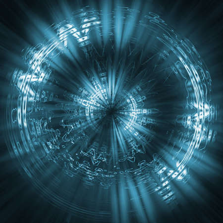 digitally generated: Futuristic background blue. Elements of particles, lines, abstract figures and the dim lines of light Stock Photo