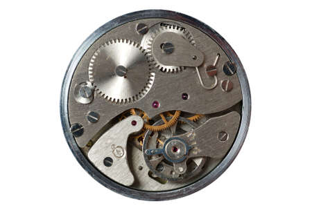 old watch - the device. The internal mechanism of watch - a photo close up photo