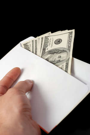 extortion: Bribe. Criminal activity, payoff. Money enclosed in an envelope