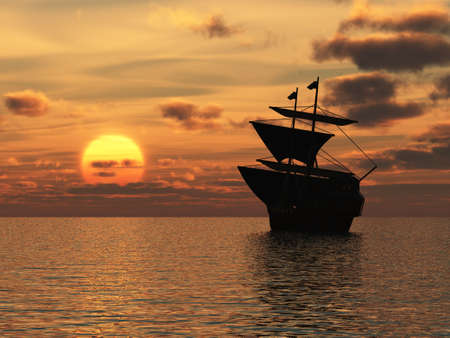 The ship on sunset. A sailing vessel floating on ocean