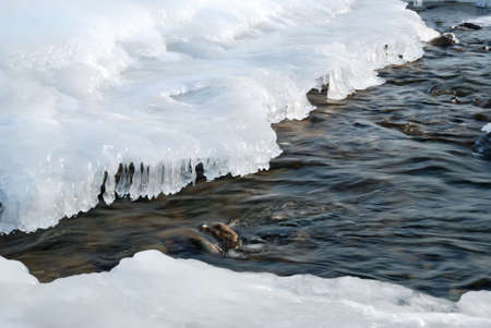 The winter river. An ice-hole in the frozen river with a rough stream Stock Photo - 3411881