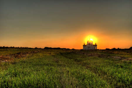 Church on sunset. Russian church. Year of construction - 1912 photo