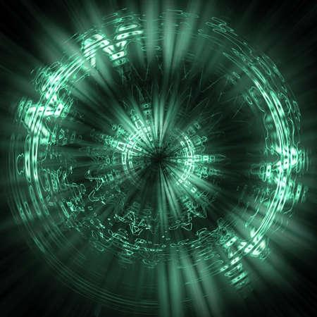 figuras abstractas: Futurista de fondo verde. Elementos de las part�culas, l�neas, figuras abstractas y las l�neas de luz tenue Foto de archivo