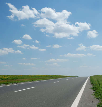 Asphalt road. A transport highway with the blue sky. A transport highway with the blue sky Stock Photo - 3440499