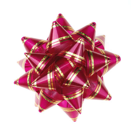 Decorative ornament from tapes - red. The details of ornaments isolated on a white background photo