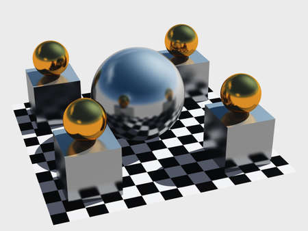 Fantastic construction.Three-dimensional spheres on pedestals on a chess plane  photo