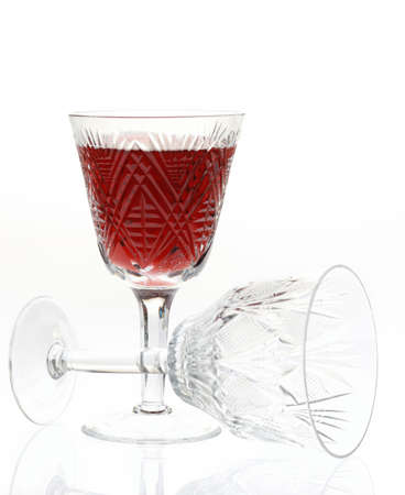inverted: Wine. A glass vessel with wine, a red grape drink Stock Photo