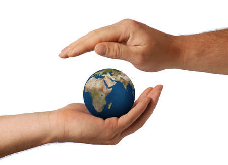 preservation: Planet the earth in human hands. Concept about preservation of the environment Stock Photo