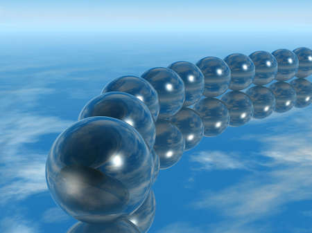Row spheres with a reflecting surface located on a mirror photo