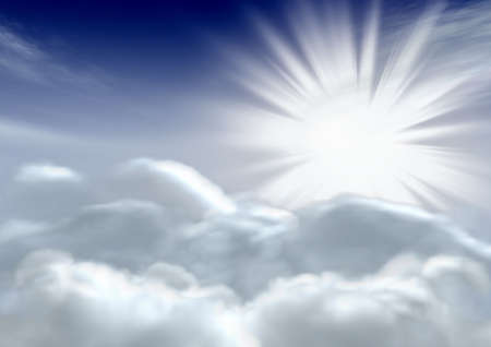 phenomena: The sun and clouds. The fantastic sky. 3d rendering Stock Photo