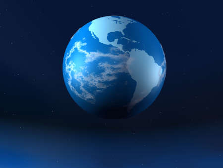 The planet the earth is dark background. Three-dimensional rendering photo