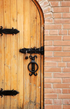 Wooden doors. An entry in a building of a man's monastery. East Ukraine Stock Photo - 3629241