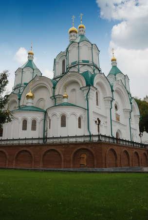 grassplot: Church. A building of a mans monastery - Svatogorska laurels - east Ukraine