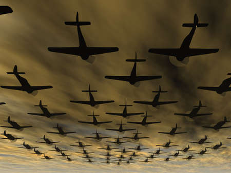 terrible: Planes. A squadron of military planes in the drama terrible sky
