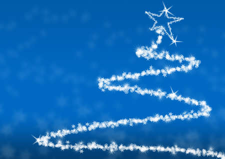 Abstract fur-tree. A tree drawn by snowflakes of the various form and the size Stock Photo - 3679525