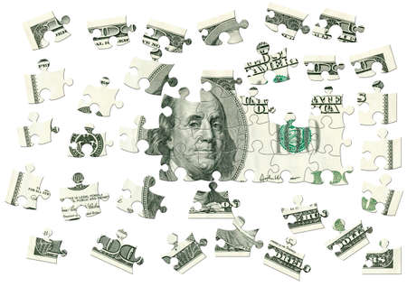 Dollar - puzzle. Currency USA in the form of logic game - puzzle photo