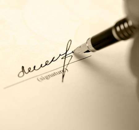 subscribing: The signature. Acknowledgement of the document by means of the unique signature by means of pen Stock Photo