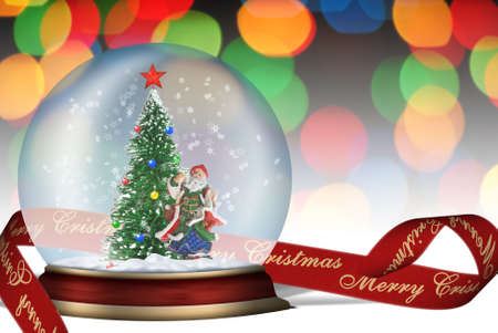 snow storm: Glass sphere. Christmas scenery created by means of computer technology Stock Photo