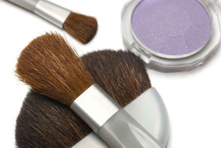 Cosmetic brushes. A set of subjects for care of a leather of the person Stock Photo - 3907082