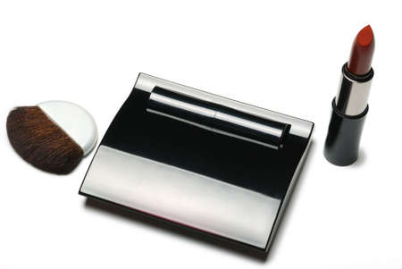 Powder box. A subject for care of a leather of the person. A female toilet accessory Stock Photo - 3907052