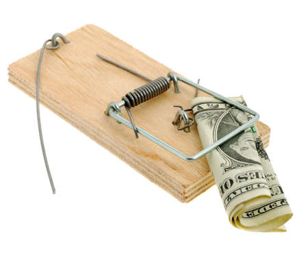 Mousetrap with dollar. The adaptation for catching mice and other fine rodents photo