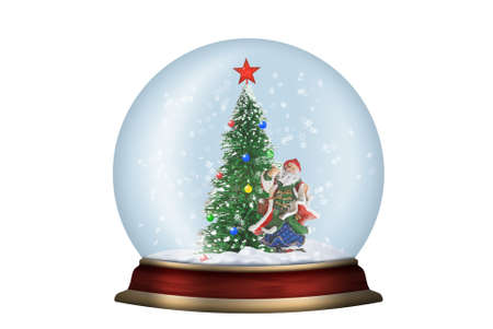 Glass sphere. Christmas scenery created by means of computer technology photo