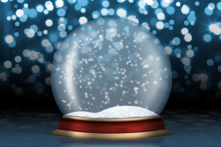 snow falling: Glass sphere. Christmas scenery created by means of computer technology Stock Photo