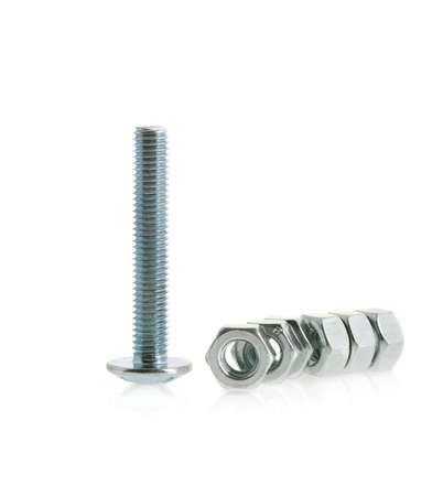 threaded: Bolts and nuts. Fixing details for a fastening of details Stock Photo