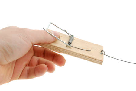 Finger in a mousetrap. The adaptation for catching mice and other fine rodents Stock Photo - 4037174