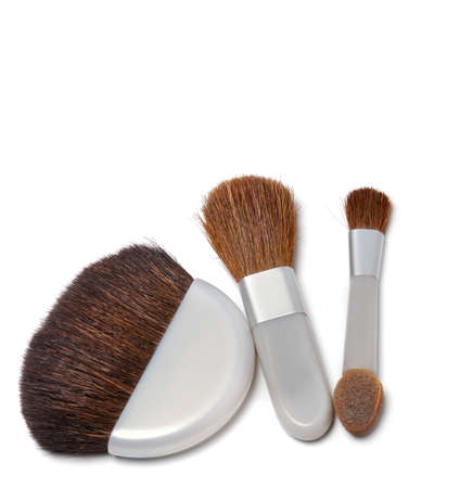 Cosmetic brushes. A set of subjects for care of a leather of the person Stock Photo - 4131293