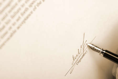 The signature. Acknowledgement of the document by means of the unique signature by means of pen Stock Photo - 4131296