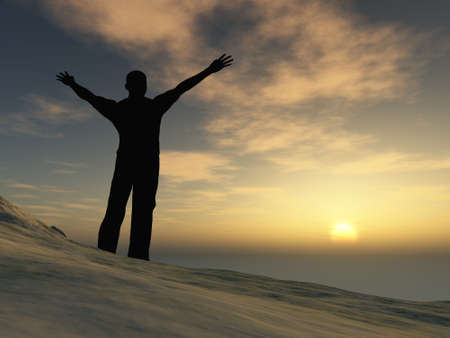 The man on mountain. The lifted hands, towards to picturesque sunset photo