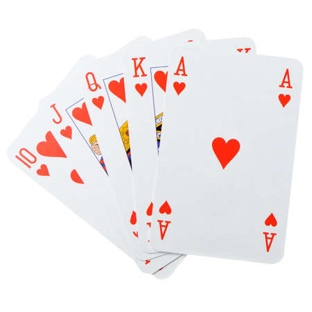 games hand: Playing cards on a white background. Poker cards  Stock Photo
