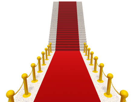 initiation: Ladder with a red carpet. Gold columns with a circuit
