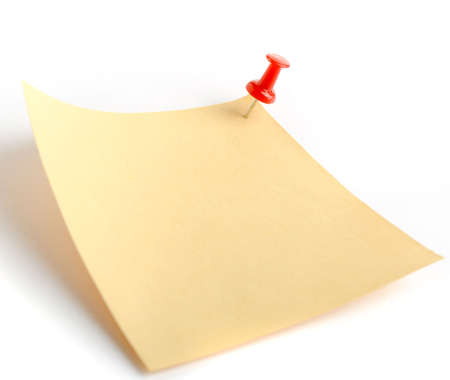 Paper note. It is attached red pin on a white background Stock Photo - 4233258
