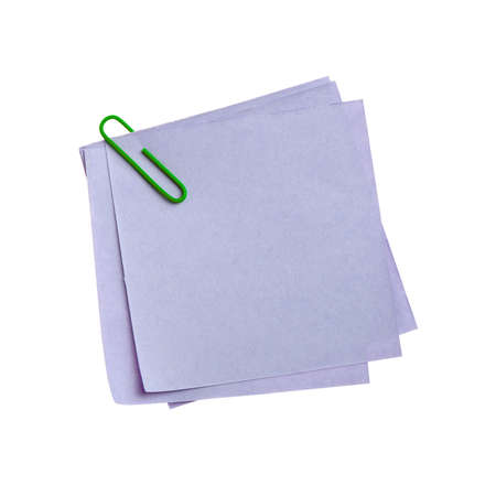 clinch: Blue paper note with green clinch. It is attached red pin on a white background