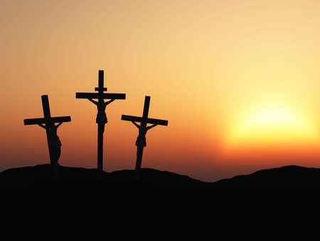De kruisiging. Een kruis met Jezus Christus. Een bijbel thema