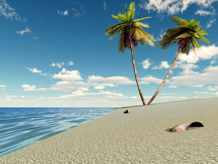 Paradise. Two palm trees on island on a background of the dark blue sky Stock Photo