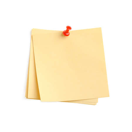 yellow paper note with red pin. It is attached red pin on a white background Stock Photo - 4289899